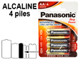 Blister 4 piles LR6 PANASONIC